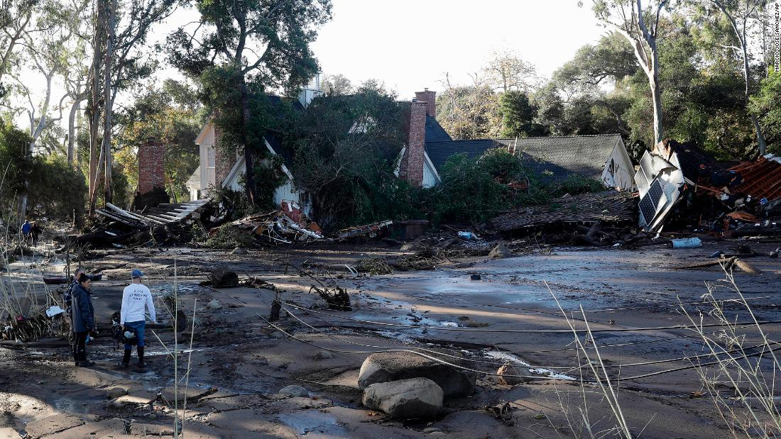 A damaged home is seen in Montecito, California, on Wednesday, January 10. Heavy rains unleashed deadly mudslides Tuesday that damaged or swept away dozens of homes in Southern California.