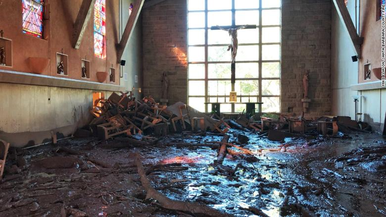 Damage in the chapel at La Casa de Maria in Montecito.
