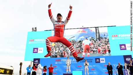 Felix Rosenqvist celebrates after securing back-to-back wins in the 2017/18 Formula E championship