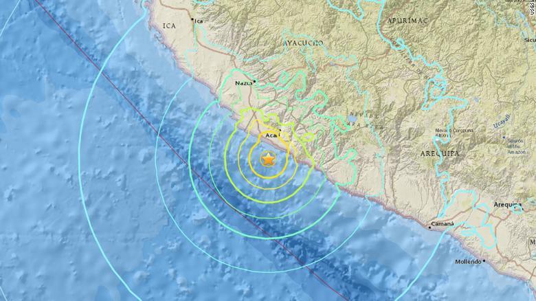 The 7.1-magnitude earthquake struck off the coast of southern Peru.
