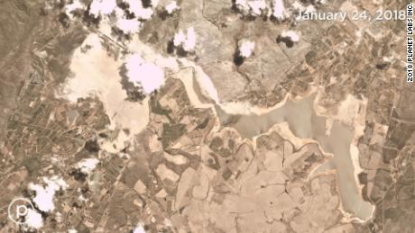 Satellite images show Cape Town's dwindling reservoir as the city slowly runs out of water