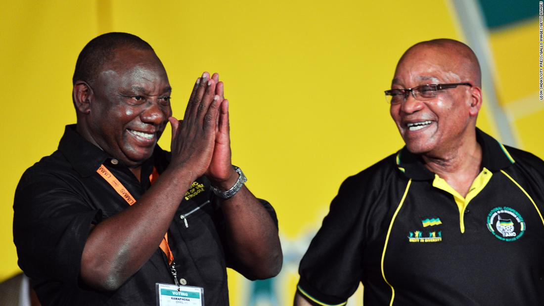 Zuma looks at Cyril Ramaphosa after Ramaphosa was elected deputy president of the ANC in December 2012. Zuma was re-elected as the party's president.