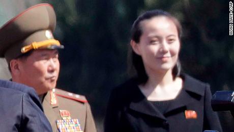 Kim Yo Jong, right, sister of North Korean leader Kim Jong Un, at the official opening of the Ryomyong residential area, April 13, 2017.