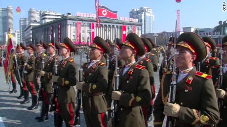 Soldiers stand guard at North Korea's military parade.