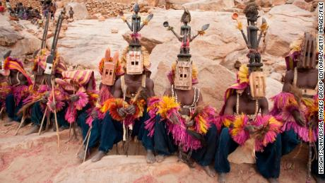The Dogon dancers wearing Kananga masks in Mali, one of the inspirations for the film.