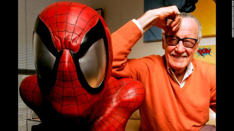Stan Lee poses next to a Spider-Man model at his office in 2008. Lee, who co-created Spider-Man and many other popular comic book characters that have become household names, died Monday, November 12, at the age of 95.