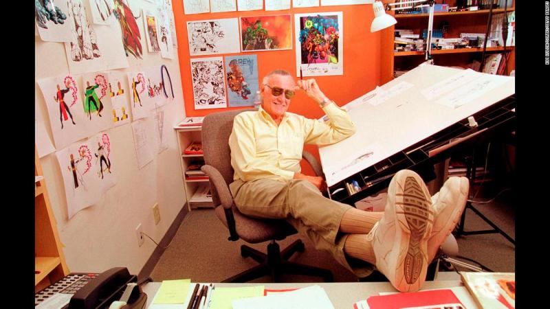 "Lee relaxes in his Los Angeles office. Lee championed close collaboration between comic book writers and artists. The collaborative approach was known as the ""Marvel Method."" In 2010, he told CNN, ""All of my life in comics I have worked with artists, so I've collaborated with them. I would write down the original story, they would draw it and then I would edit it and do the art direction. So everything I've done has always been a collaboration."""