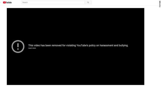 "YouTube has removed the video, ""David Hogg Can't Remember His Lines In TV Interview."""