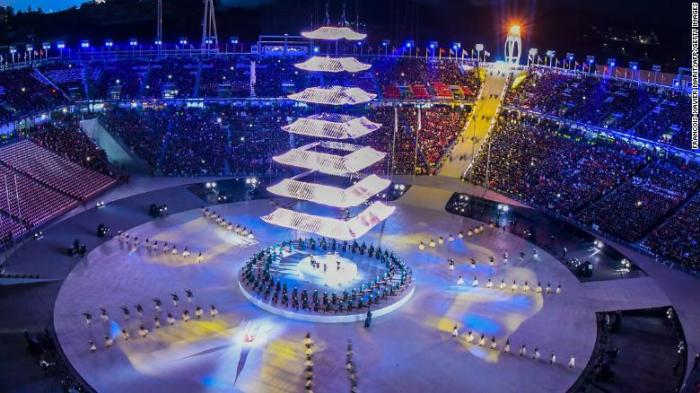 General view during the closing ceremony of the Pyeongchang 2018 Winter Olympic Games at the Pyeongchang Stadium on February 25, 2018. / AFP PHOTO / François-Xavier MARIT (Photo credit should read FRANCOIS-XAVIER MARIT/AFP/Getty Images)