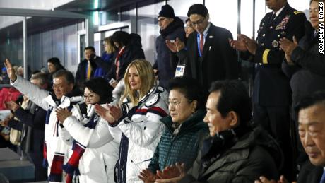 South Korean President Moon Jae-in, first lady Kim Jung-sook and Ivanka Trump applaud as athletes from North and South Korea walk together during the closing ceremony of the 2018 Winter Olympics