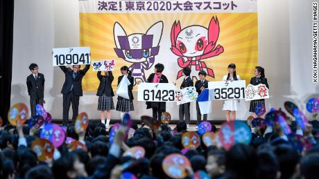The characters designed by Ryo Taniguchi were revealed as the winners at Hoyonomori Gakuen School in Tokyo on February 28, 2018.