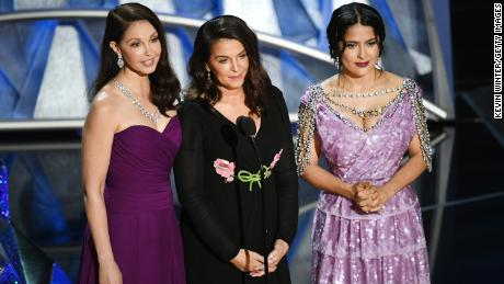 Ashley Judd, Annabella Sciorra and Salma Hayek speak onstage during the 90th Annual Academy Awards.