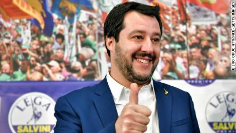 League leader Matteo Salvini celebrates after a strong result in federal elections in March.
