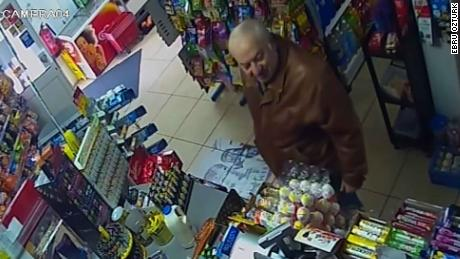Surveillance footage shows Sergei Skripal shopping at a convenience store days before he was poisoned.