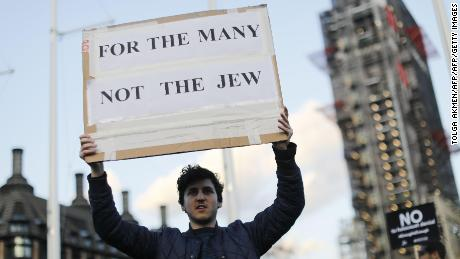 Members of the Jewish community protest against Corbyn and anti-Semitism outside Parliament in March.