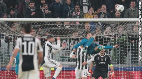 Ronaldo scores for Real Madrid against Juventus in last season's Champions League.