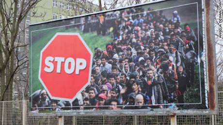 A government billboard calling for an end to migration on Budapest's outskirts.