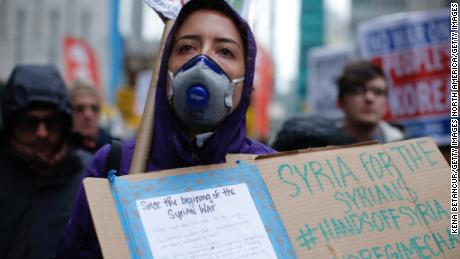 Demonstrators in New York stage an anti-war protest on April 15 after President Donald Trump launched airstrikes in Syria.