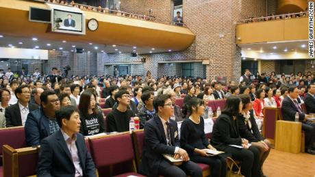 North Korean defectors listen to a pastor during a church service in Seoul, South Korea on April 28, 2018.