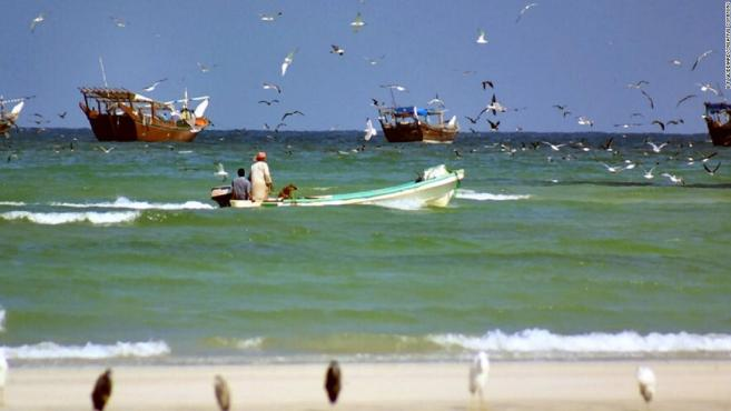 Fishermen head out into the waters around the town of Duqm in Oman.