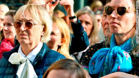 Hundreds of people demonstrate outside the Swedish Academy on April 19 to show their support for Danius.