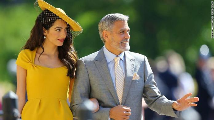 Amal and George Clooney arrive for the wedding.