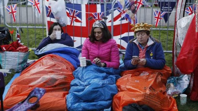 Well-wishers gather in Windsor on Saturday ahead of the wedding of Prince Harry and Meghan Markle.