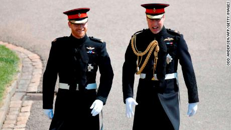Britain's Prince Harry and his best man Prince William wore military dress uniforms.