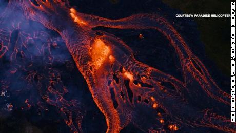 Rivers of fiery lava run across southeast Big Island.