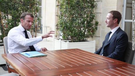 Macron meets with Facebook's Mark Zuckerberg at the Élysée  Palace on May 23.