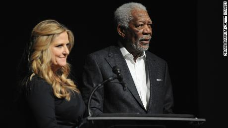Morgan Freeman and Lori McCreary, his business partner, speak at an event in New York City in 2016.