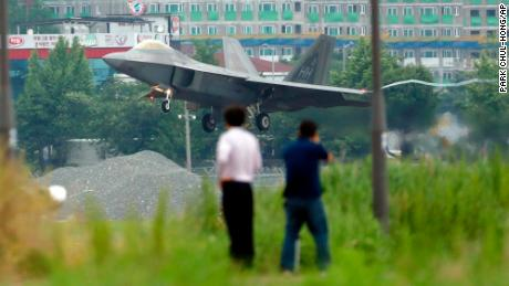 A US F-22 Raptor stealth fighter jet lands as South Korea and the United States conduct the Max Thunder joint military exercise at an air base in Gwangju, South Korea.