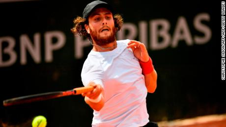 Marco Trungelliti hits a forehand in his win over Bernard Tomic at the French Open.