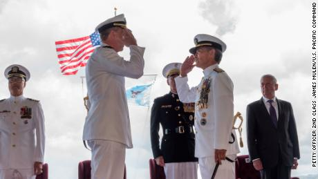 Adm. Phil Davidson, left, relieves Adm. Harry Harris, right, as commander of US Indo-Pacific Command during a ceremony at Pearl Harbor, Hawaii, on Wednesday.