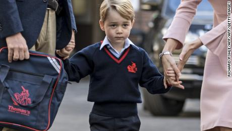 Prince George arrives for his first day of school on September 7, 2017.  (Richard Pohle/AFP/Getty Images)