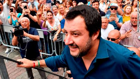 Matteo Salvini -- now Italy's Interior Minister -- walks on stage during a campaign rally in May.