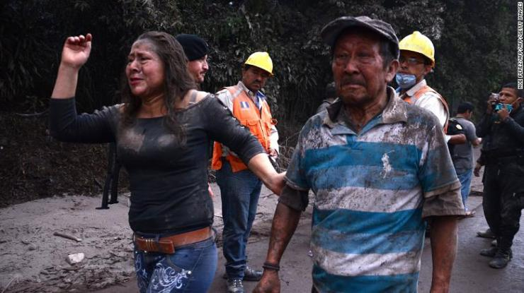 Residents flee El Rodeo village after the Fuego volcano erupted.