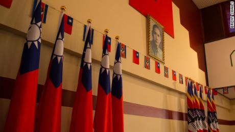 Flags hang next to a picture of Taiwan's founder in the embassy, Taiwan's last in Africa.