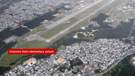 The US Marine Corps Air Station Futenma in Ginowan, Okinawa, is right in the middle of a densely populated urban area.