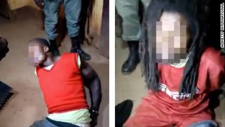 Images from Amnesty International of men it says were interrogated by police   in Cameroon.