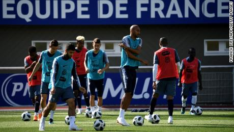 France's national football team players at their training camp