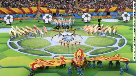 Artists perform in the World Cup's opening ceremony.