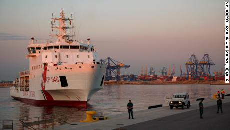 Italian coast guard vessel Dattilo carrying migrants at the port of Valencia, Spain on June 17. Italian Interior Minister Matteo Salvini had previously refused entry to the migrants.