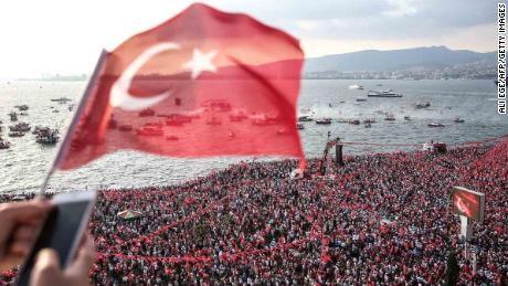 Hundreds of thousands of supporters gather to listen to Muharrem Ince in Izmir on June 21, three days ahead of the vote.