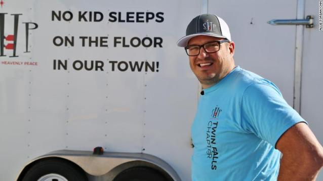 """The motto of Luke Mickelson's nonprofit, Sleep in Heavenly Peace, is """"No kid sleeps on the floor in our town."""""""