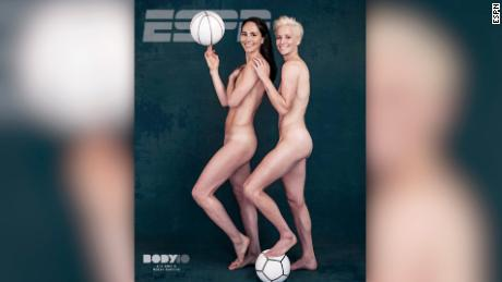 Rapinoe with girlfriend Sue Bird on the cover of ESPN's Body Issue.
