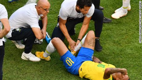 Neymar receives treatment in the second half
