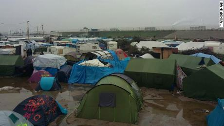 Tents near where Majhor stayed in the Calais Jungle.