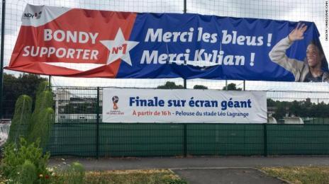 The sign outsite the Bondy futsal pitch reads: 'Thank you les blues! Thank you Kylian!'