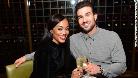 Rachel Lindsay (left) celebrates her birthday with then fiance, Bryan Abasolo (right), at Rivers Casino Philadelphia, formerly SugarHouse Casino, on April 21, 2018.